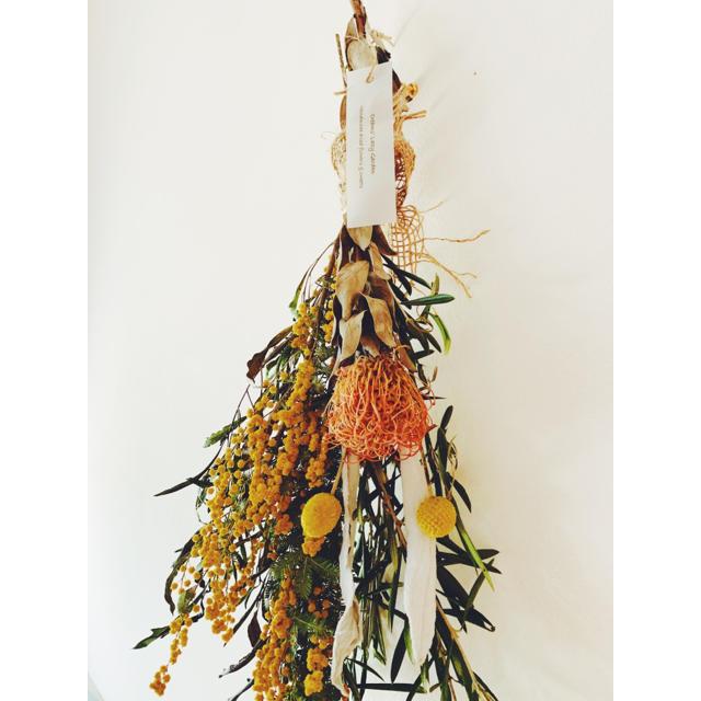 ミモザ ピンクッションのロングスワッグ ハンドメイドのフラワー/ガーデン(ドライフラワー)の商品写真
