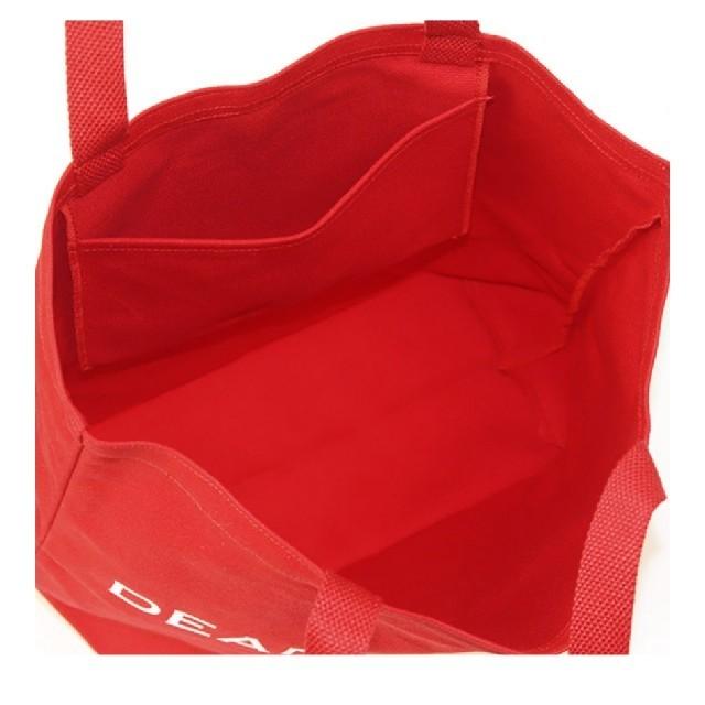 DEAN & DELUCA(ディーンアンドデルーカ)のDEAN&DELUCA ラージ レッド 赤 ディーン&デルーカ トートバッグ レディースのバッグ(トートバッグ)の商品写真