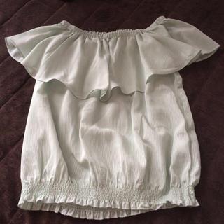 ジーユー(GU)のパステルグリーン オフショル(シャツ/ブラウス(半袖/袖なし))