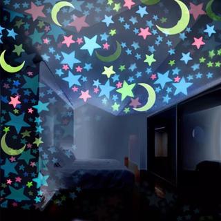 蓄光 光る 月型と星型 プラスチックウォールステッカー 月と星(その他)
