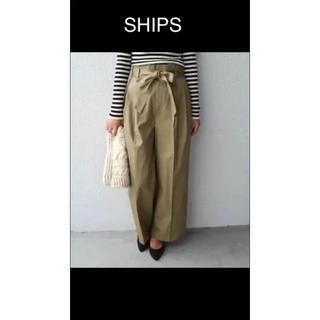 シップス(SHIPS)のships  ウエストリボン ワイドパンツ カーキーベージュ(カジュアルパンツ)