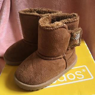 キッズ ムートンブーツ 冬 赤ちゃん ベビー 13 茶色 ブラウン もこもこ(ブーツ)