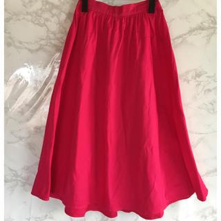 ジーユー(GU)のGU Aライン スカート ピンク(ひざ丈スカート)