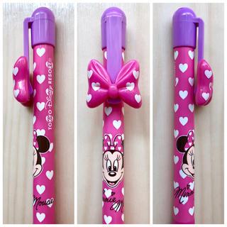ディズニー(Disney)の新品 TDR ミニーマウス ボールペン リボン×ハート ピンク×紫(ペン/マーカー)