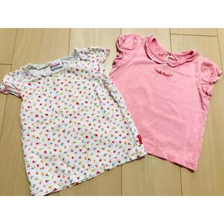 ミキハウス(mikihouse)のミキハウス 女の子 Tシャツ 90センチ 2着セット 子供服 美品(Tシャツ/カットソー)