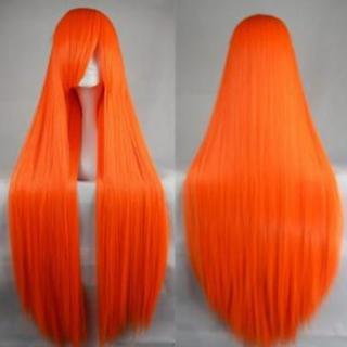 ウィッグ (オレンジ) ロングヘアー ストレート 100cm ネット付き(ロングストレート)