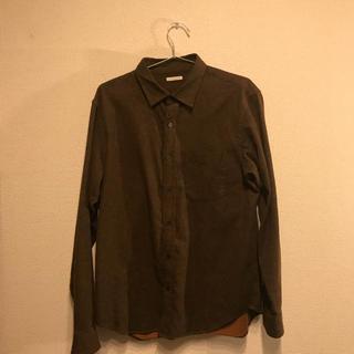 ジーユー(GU)のGU ブラウン メランジ  シャツ ネルシャツ(シャツ)