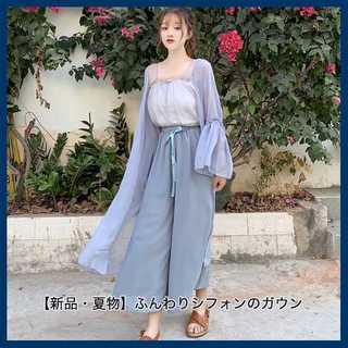 【新品・夏物】ふんわりシフォンのガウン・ブルー(ガウンコート)
