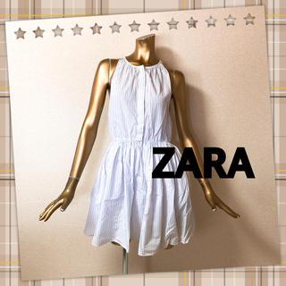 ザラ(ZARA)のZARA ★ ストライプ ノースリーブ シャツ ワンピース(ミニワンピース)