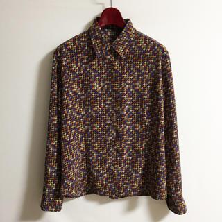 90s 柄シャツ モード 古着MIX 古着女子 さらさら ファッション(シャツ/ブラウス(半袖/袖なし))