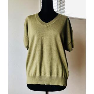 リネン混 Vネック ニット ゆったりサイズ 落ち着いた緑色(ニット/セーター)