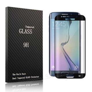 ブラック Galaxy s6 edge 強化ガラス フィルム 全画面保護(Androidケース)