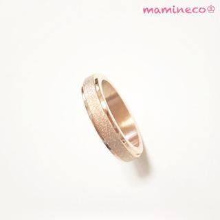 16号サイズ ステンレス製 ピンクゴールドザラザラリング 幅4mm 指輪(リング(指輪))