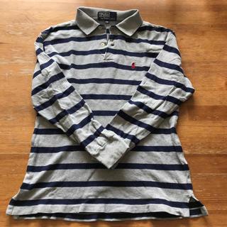 ポロラルフローレン(POLO RALPH LAUREN)のラルフローレンused130少し大き目?グレー×紺ボーダー鹿の子ポロシャツ長袖(Tシャツ/カットソー)