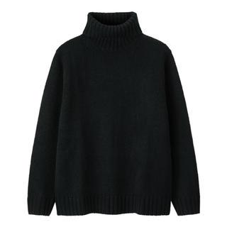 ジーユー(GU)のGU ローゲージタートルネックセーター S ネイビー(ニット/セーター)