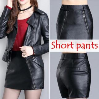 L 黒 レディース レザー風 PU ショートパンツ ジッパー付き スカート ミニ(ミニスカート)