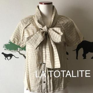 ラトータリテ(La TOTALITE)のLA TOTALITE シルク綿 大きめボウタイ  パフ袖 ブラウス(シャツ/ブラウス(半袖/袖なし))