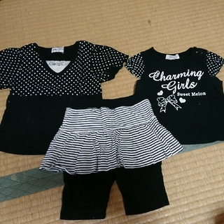 女の子 半袖二枚スパッツスカート(Tシャツ)
