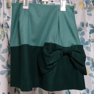 アナトリエ(anatelier)のAnatelier 緑 リボン スカート 7号(ひざ丈スカート)