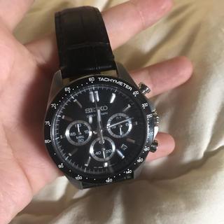 セイコー(SEIKO)のseiko 腕時計 クロノグラフ 黒 メンズ(腕時計(アナログ))
