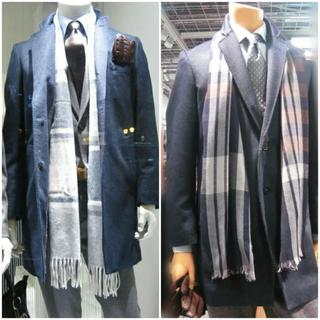 スーツカンパニー(THE SUIT COMPANY)の美品カシミア混 チェスターコート メルトン ネイビー ブルー(チェスターコート)