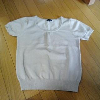 インディヴィ(INDIVI)のラメ入り 半袖ニット(ニット/セーター)