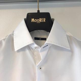 スーツカンパニー(THE SUIT COMPANY)の① スーツセレクト ワイドカラー ビジネスシャツ  ★ ホワイト ストライプ S(シャツ)