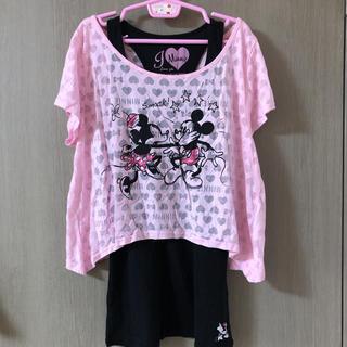 ディズニー(Disney)のミニー&ミッキー 重ね着セット(Tシャツ(半袖/袖なし))