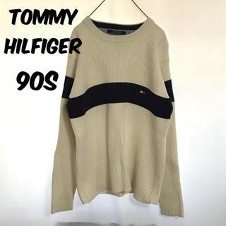 トミーヒルフィガー(TOMMY HILFIGER)のトミーヒルフィガー 90s ニット セーター ワンポイント 刺繍 トリコロール(ニット/セーター)