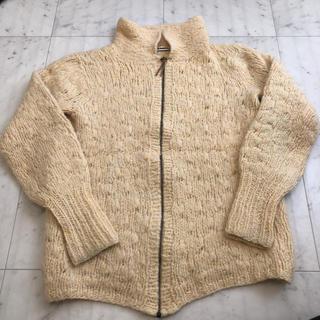 ジルサンダー(Jil Sander)のJILSANDAR 羊毛 ニットジップ カーディ クリーム色(ニット/セーター)
