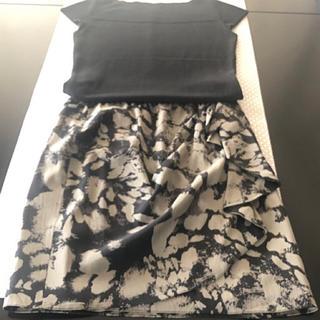 ダナキャランニューヨーク(DKNY)のDKNY ダナキャラン シルク素材 デザインスカート(ひざ丈スカート)