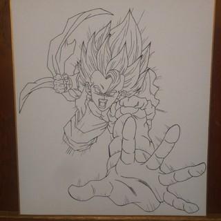 ドラゴンボール(ドラゴンボール)のドラゴンボール 色紙 手描きイラスト #ゴジータ #線画(アート/写真)
