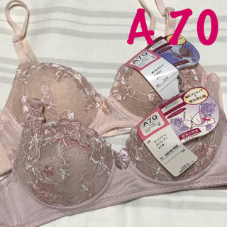 rNo.390 A70★ノンワイヤー刺繍ブラ★2枚セット(ブラ)