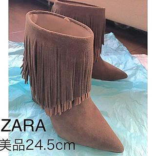 ザラ(ZARA)のZARA スエード 本革 フリンジ ブーツ(ハイヒール/パンプス)