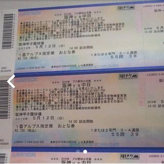 ハンシンタイガース(阪神タイガース)のチケット 阪神VS中日(野球)