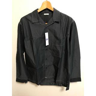 ジーユー(GU)のGU  オープンカラー ビッグシャツ 長袖 メンズ S ブラック 黒 新品未使用(シャツ)