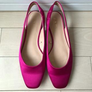 ザラ(ZARA)のザラ ZARA 靴 サテン フラット バレーシューズ 37 23.5 ピンク(バレエシューズ)