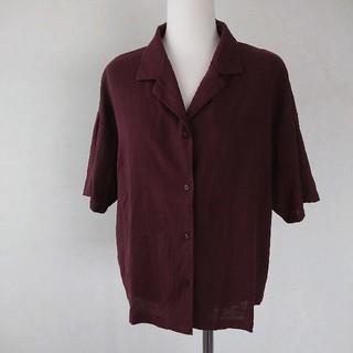 ジーユー(GU)のgu オープンカラー シャツ ブラウス リネン混(シャツ/ブラウス(半袖/袖なし))