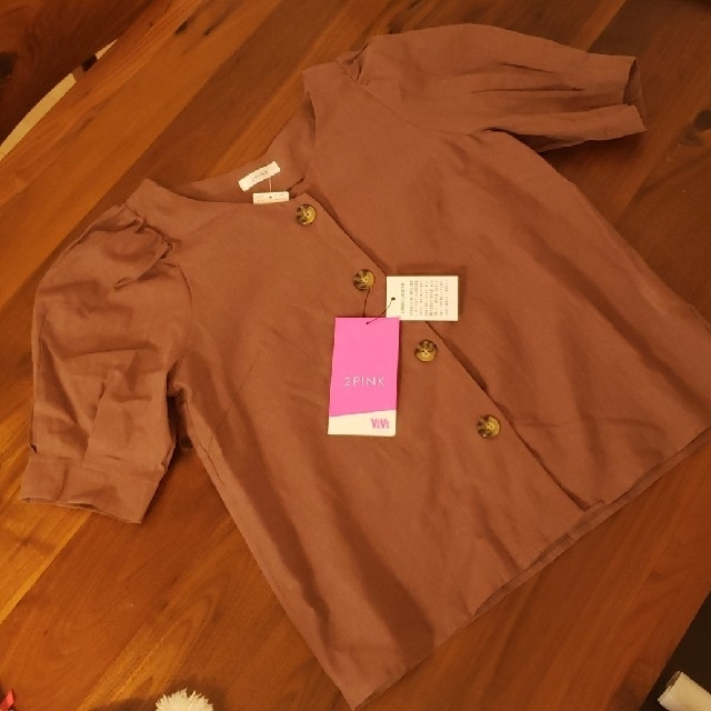 しまむら(シマムラ)の新品 未使用 前ボタンブラウス レディースのトップス(シャツ/ブラウス(半袖/袖なし))の商品写真