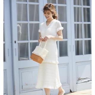 チェスティ(Chesty)のSEVENTEN レースニットドレス ホワイトsサイズ(ミディアムドレス)