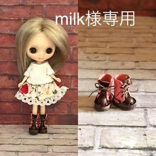 プチブライス  本革 ミニチュア靴 ピンク×焦茶(ミニチュア)