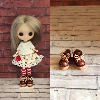 プチブライス♡本革 ミニチュア靴 チョコ(ミニチュア)