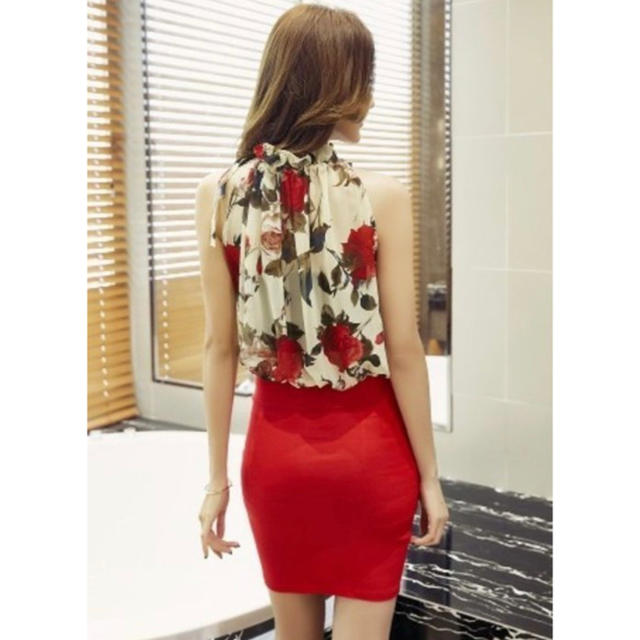 華やか花柄 レッドワンピース キャバドレス  XL レディースのフォーマル/ドレス(ミニドレス)の商品写真