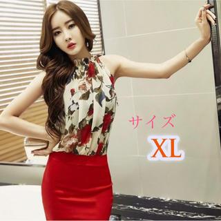 華やか花柄 レッドワンピース キャバドレス  XL(ミニドレス)
