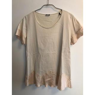 ジルサンダー(Jil Sander)のジルサンダーネイビー ピンクベージュ フリル トップス Tシャツ(Tシャツ(半袖/袖なし))