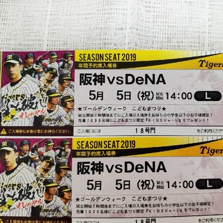 ハンシンタイガース(阪神タイガース)の5月5日(日)甲子園球場 阪神vs レフト外野指定席 2枚(野球)