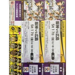 ハンシンタイガース(阪神タイガース)の5月17日 甲子園球場 阪神 タイガース 対 中日 ドラゴンズ ライト外野指定席(野球)