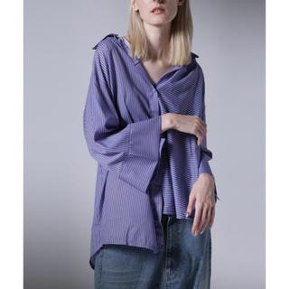 アンティカ(antiqua)のアンティカ ストライプアシメシャツ(シャツ/ブラウス(長袖/七分))