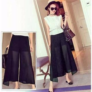 夏の人気 ファッション ガウチョパンツ ブラック LサイズM15(サルエルパンツ)