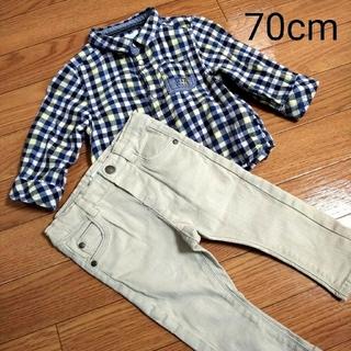 チェックシャツとパンツの上下セット(パンツ)